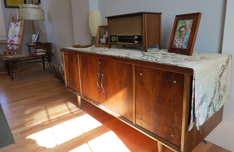 Mid-century cedar chest makes a great sideboard. The 1960s radio was given to me by my grandmother.