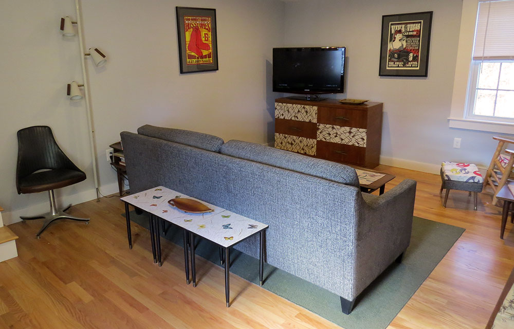 The tv stand is one we made out of a  mid-century dresser .