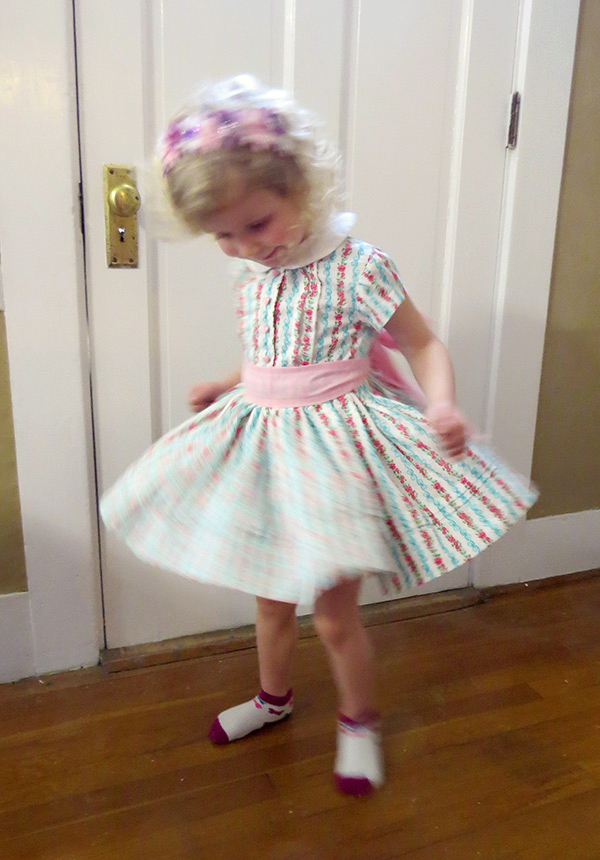 Testing the dress' twirling ability. It works!