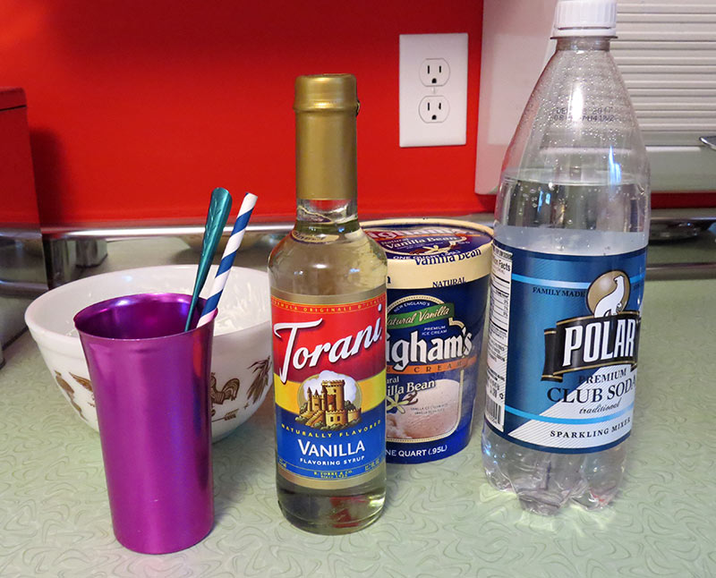 The ingredients for the Charlotte Russe, aka a vanilla soda.
