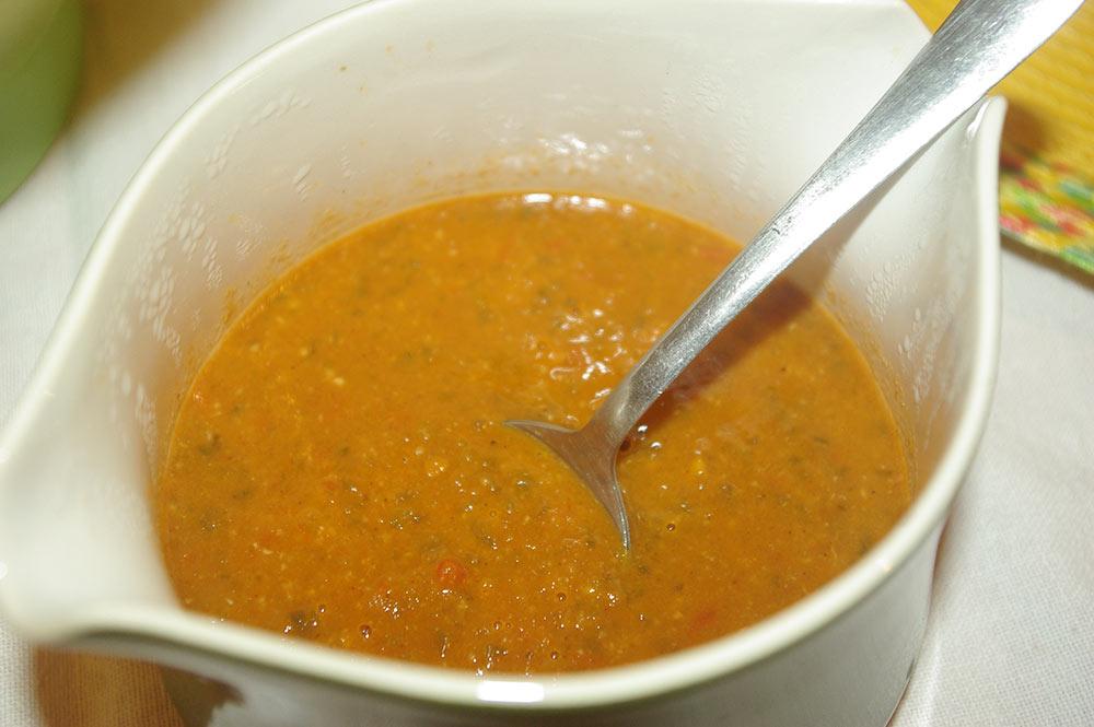 The final roja chili sauce