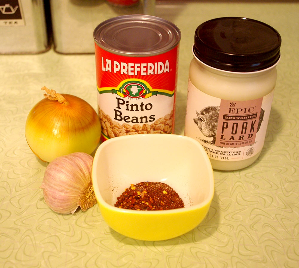 The ingredients for refried beans