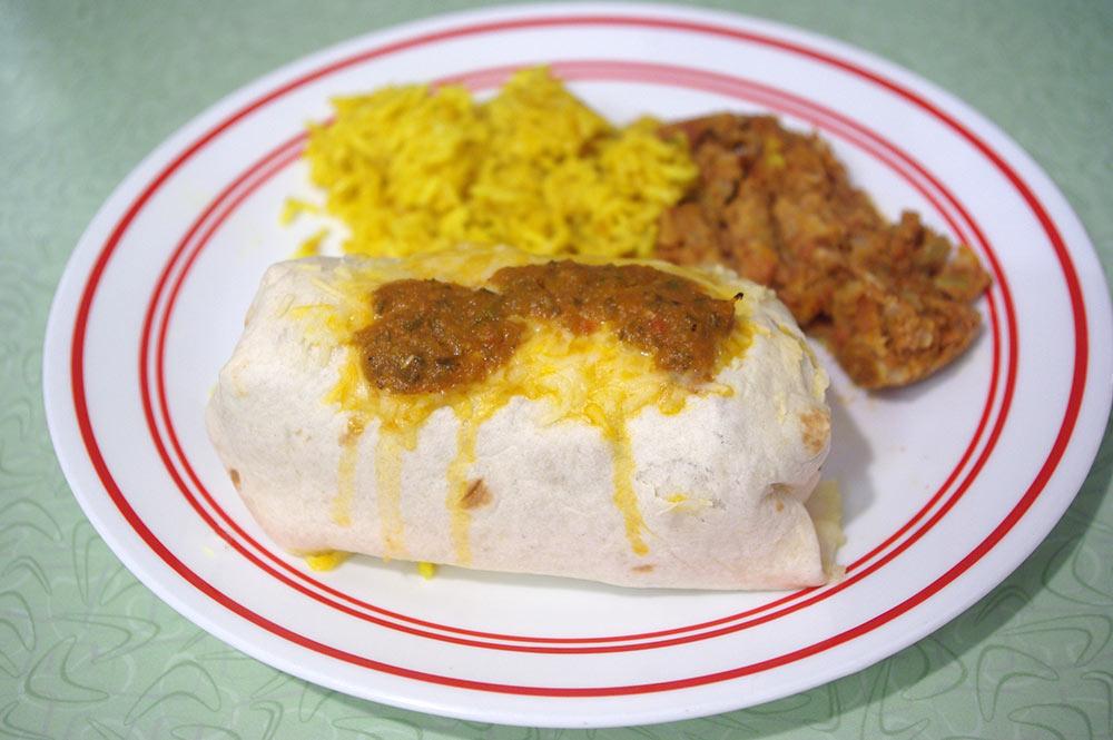 Rice, beans and pork burrito.