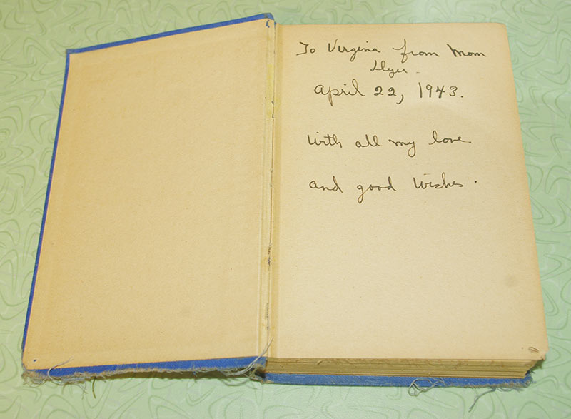 1943 inscription to Virginia, from her mom