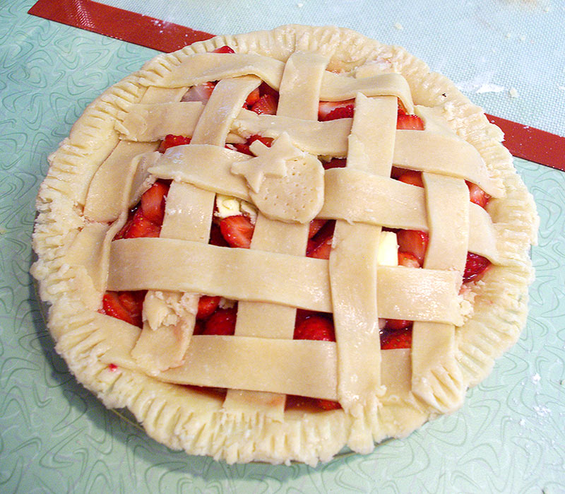 Making the pie crust for the pie