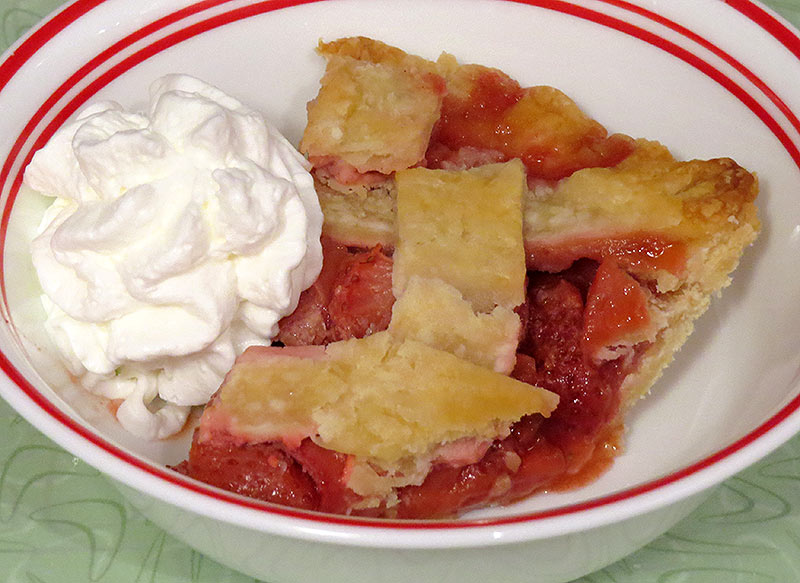 A slice of pie, with a dollop of whipped cream. It is also great with vanilla ice cream.