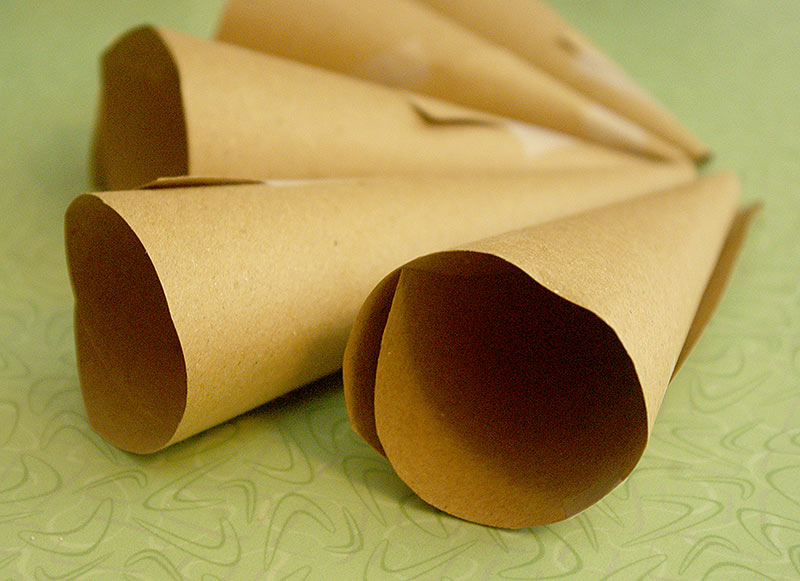 Hand made paper cooking horns