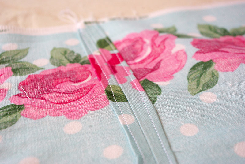 One of the turned and stitched seams