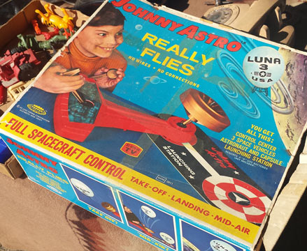 The box from some vintage space toy, which I would have been tempted to buy if the box hadn't been empty.