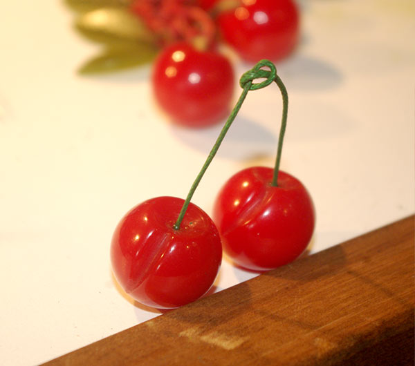 Cherries for the necklace with their new stems