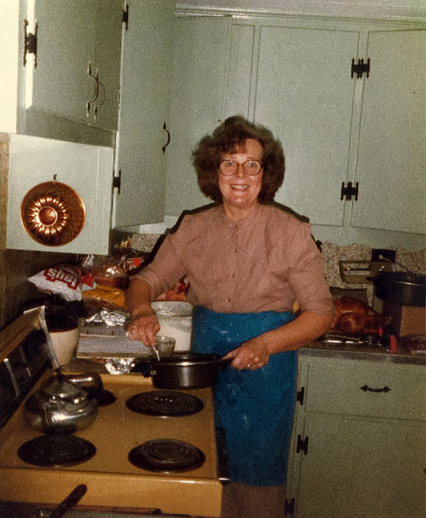 My grandma, in her kitchen, making something delicious