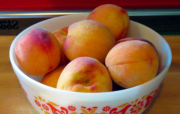 Peaches ready to be turned into ice cream.