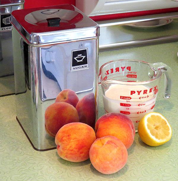 Peach ice cream ingredients.