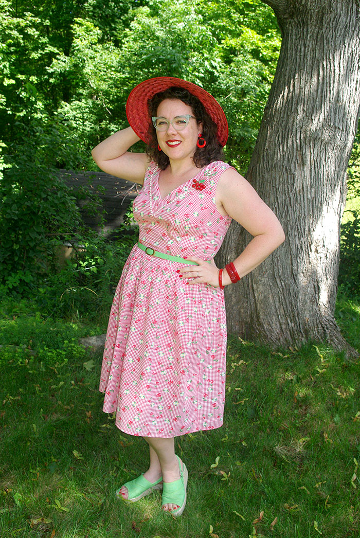 Posing in the back yard in my new dress.