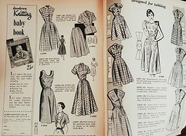 "A spread of the magazine ""Modern Needlecraft"" from 1952, featuring similar dresses."
