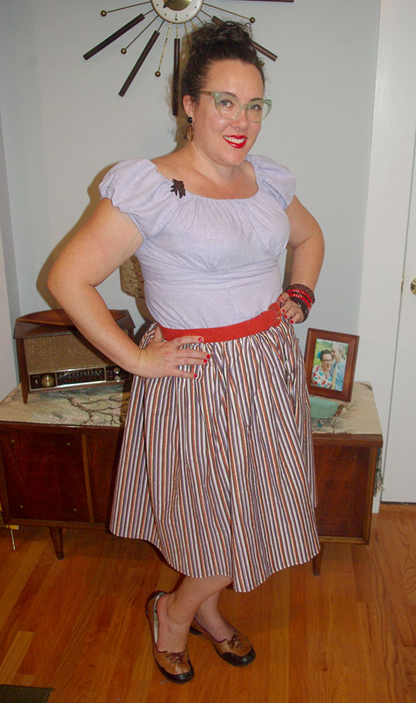 My new lavender gathered sleeve blouse with gathered dirndl-style skirt.
