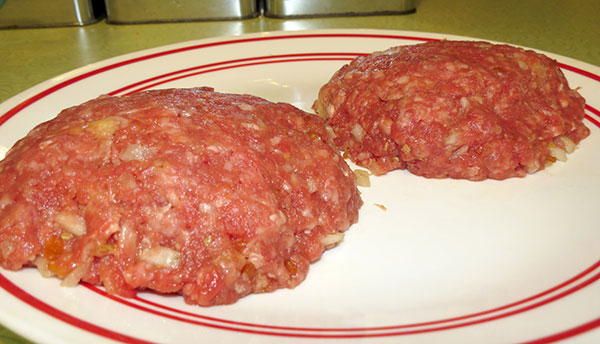 Formed patties ready for the frying pan