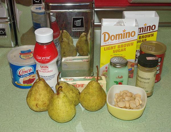 The ingredients for pear dumplings