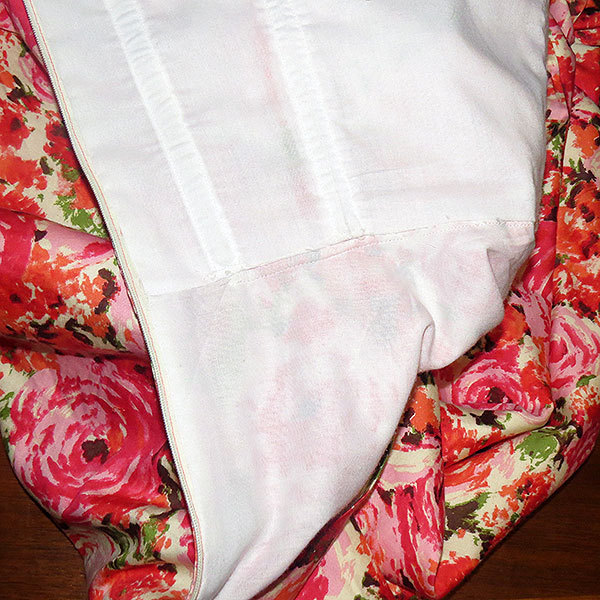 A close-up of the bodice and skirt lining