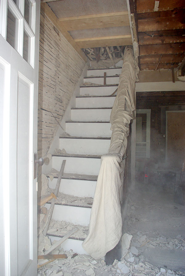 The stairwell in the midst of demo