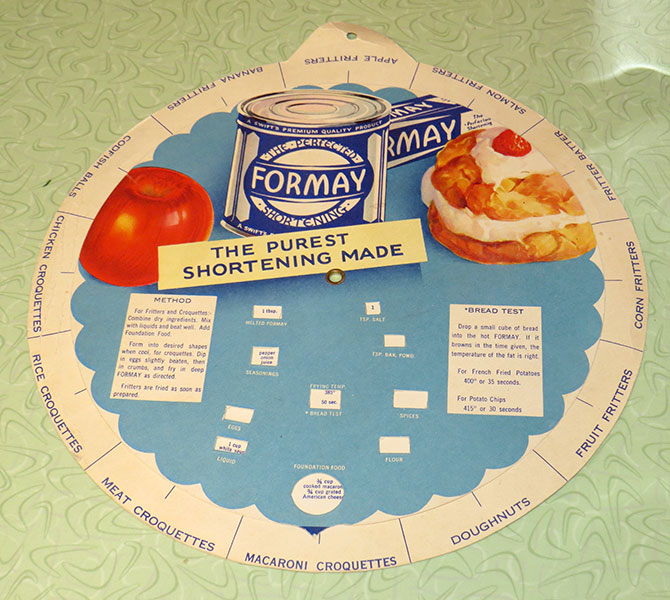 The front side of the Formay recipe wheel
