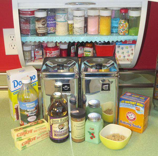 The ingredients and my cookie decorating cabinet.