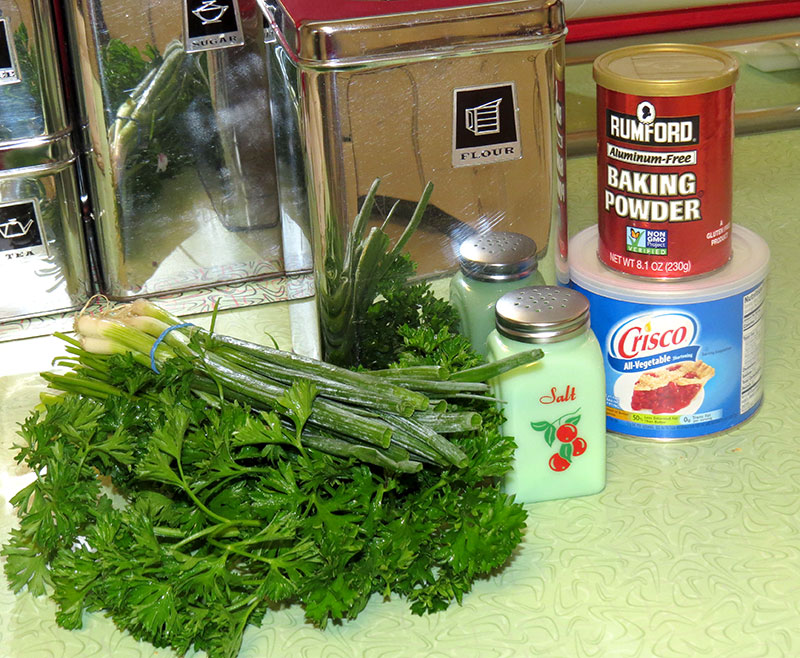 The ingredients for herbed biscuits