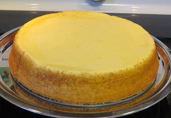 The final cheesecake, out of the oven and cooled.