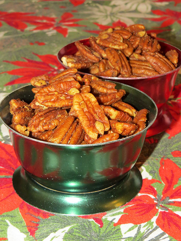 Southern Belle Hot Pecans served in vintage aluminum ice-cream dishes