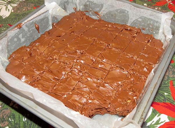 The final batch of too soft chocolate fudge