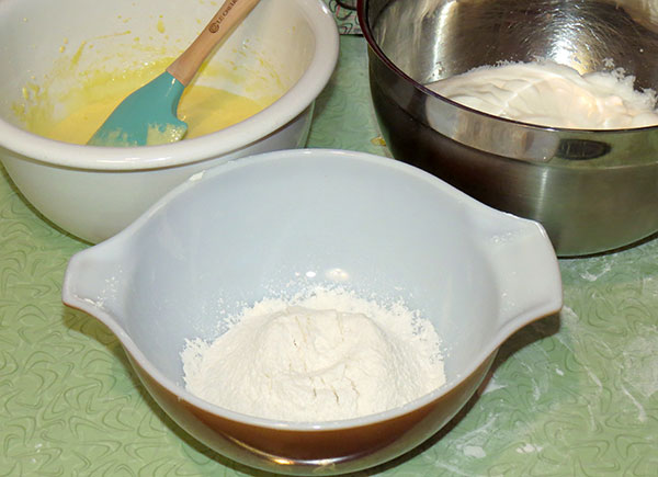 The three parts of the batter; egg mixture, egg whites and dry ingredients