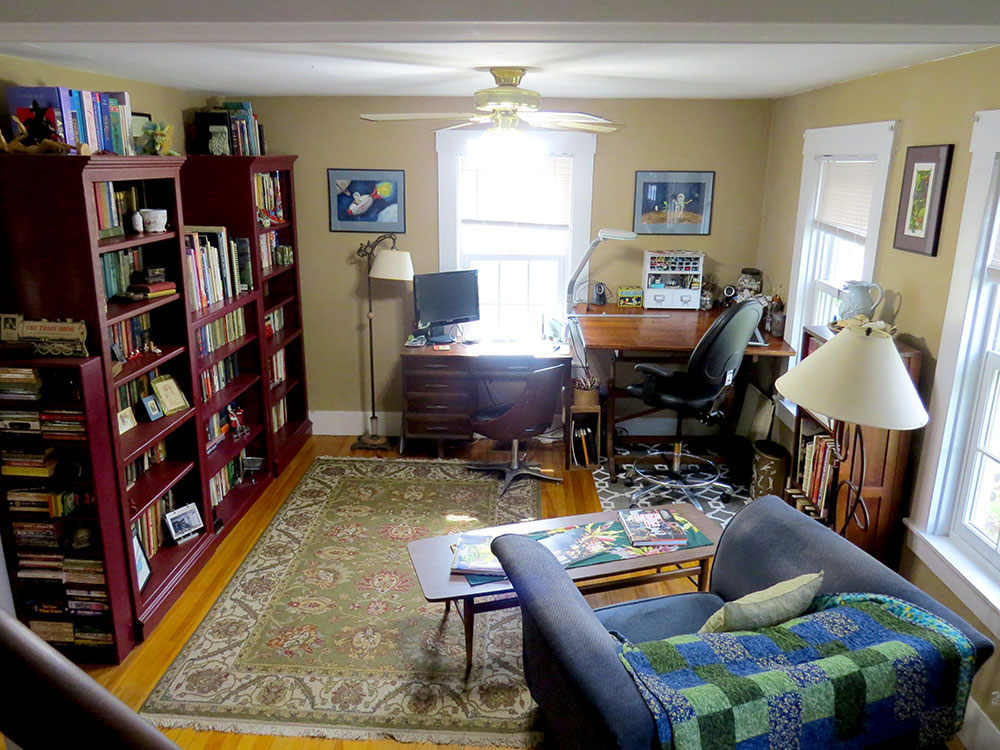 The giant bookcases really loomed over the room and made it difficult to place furniture.
