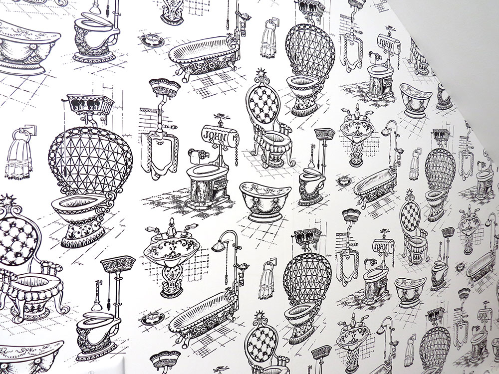Our reproduction wallpaper printed at Spoonflower.com.