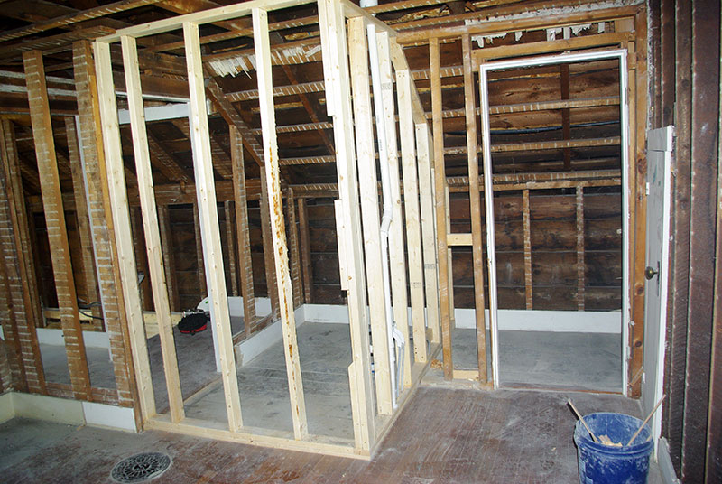 The new bathroom being framed.