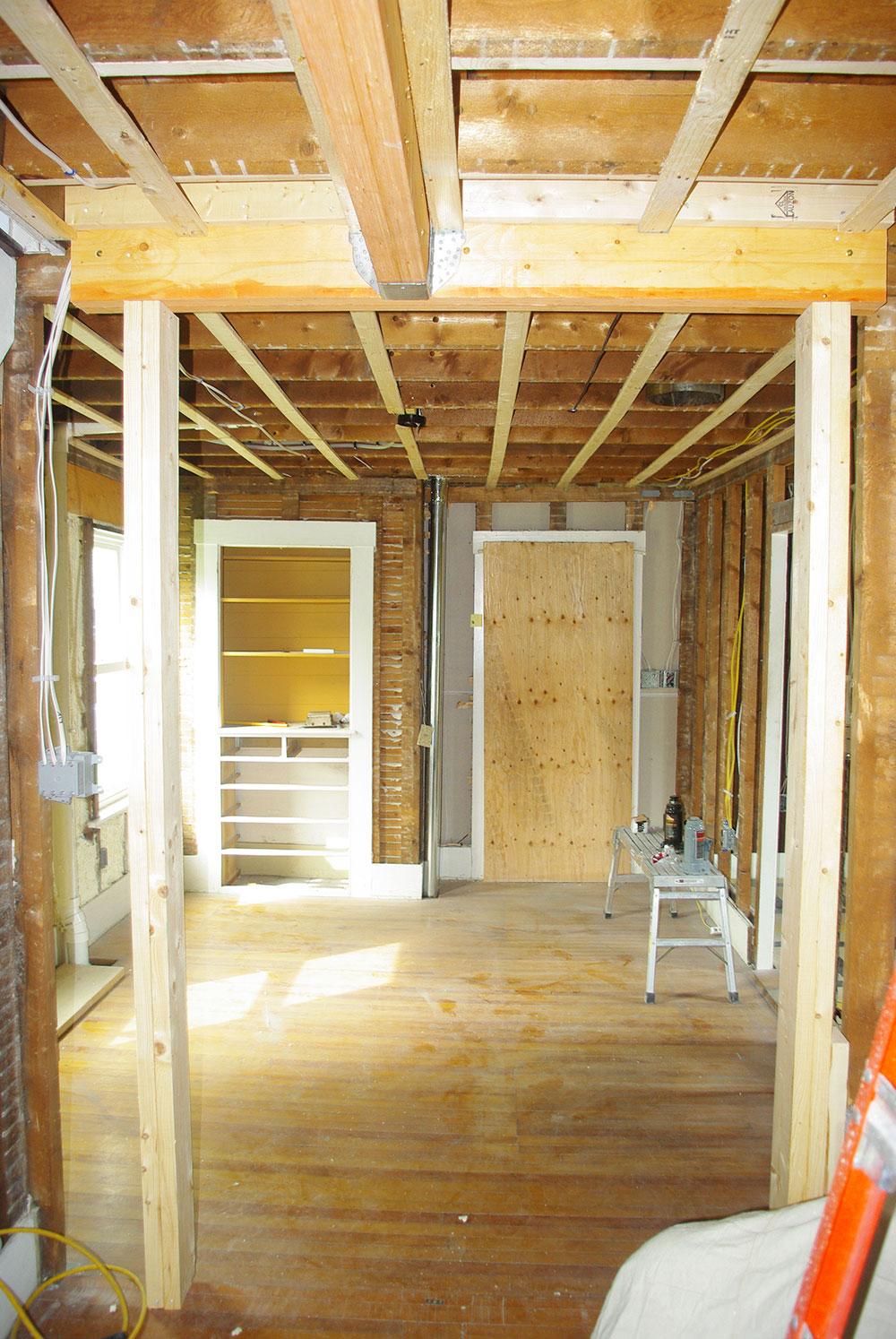 The new doorway framed in.