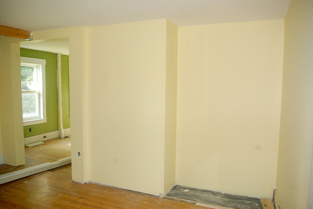 The new space ready for built-in shelves.