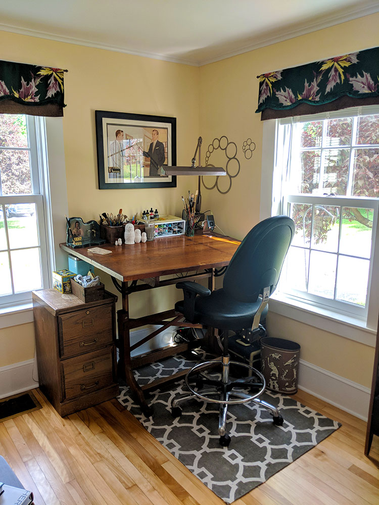 My little studio space with vintage drafting table purchased at  101A Antiques  in Amherst, NH.