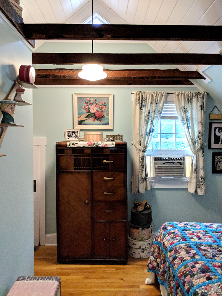 The new bedroom vaulted ceiling and new schoolhouse light.