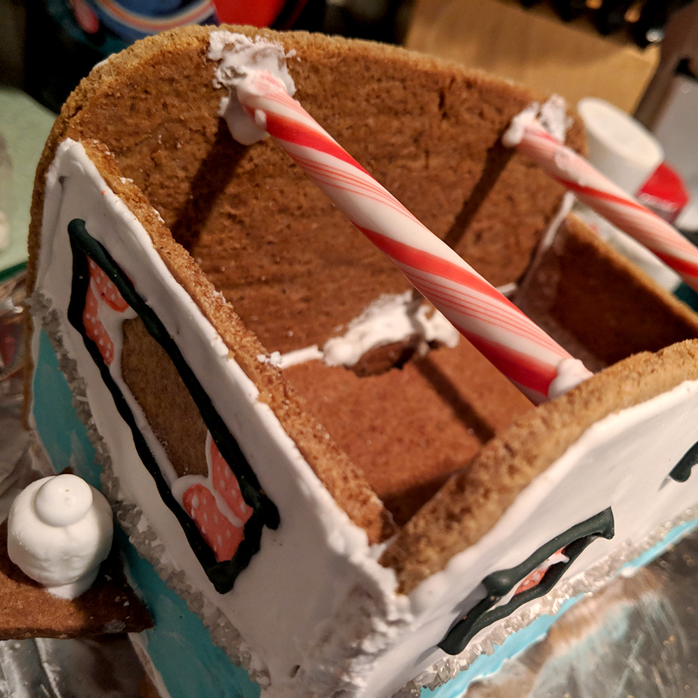 The peppermint stick roof supports.