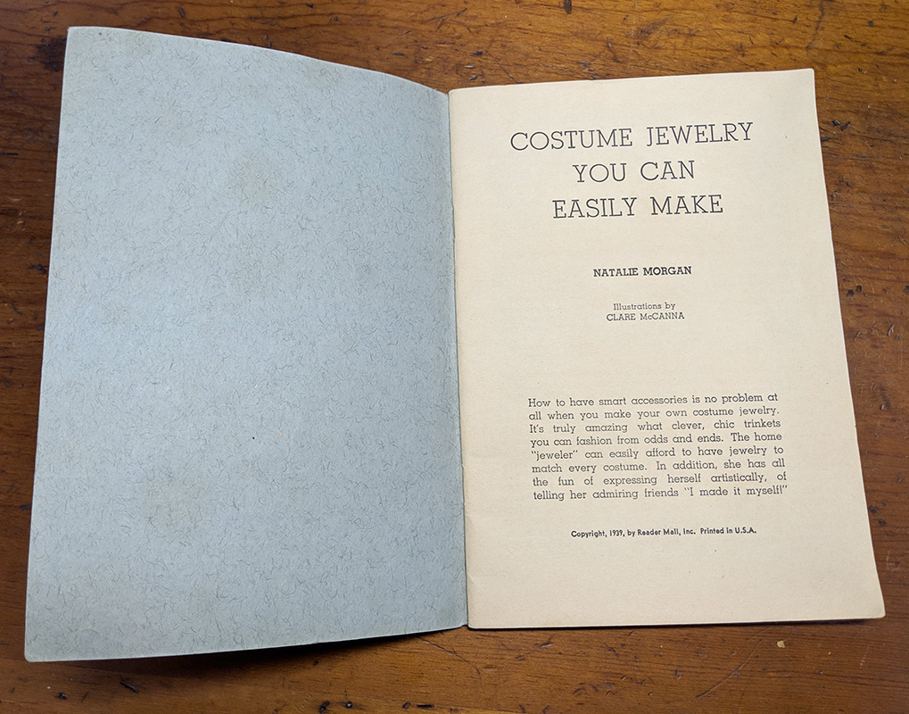 "Title page, ""Costume Jewelry You Can Easily Make"", Published in 1939"
