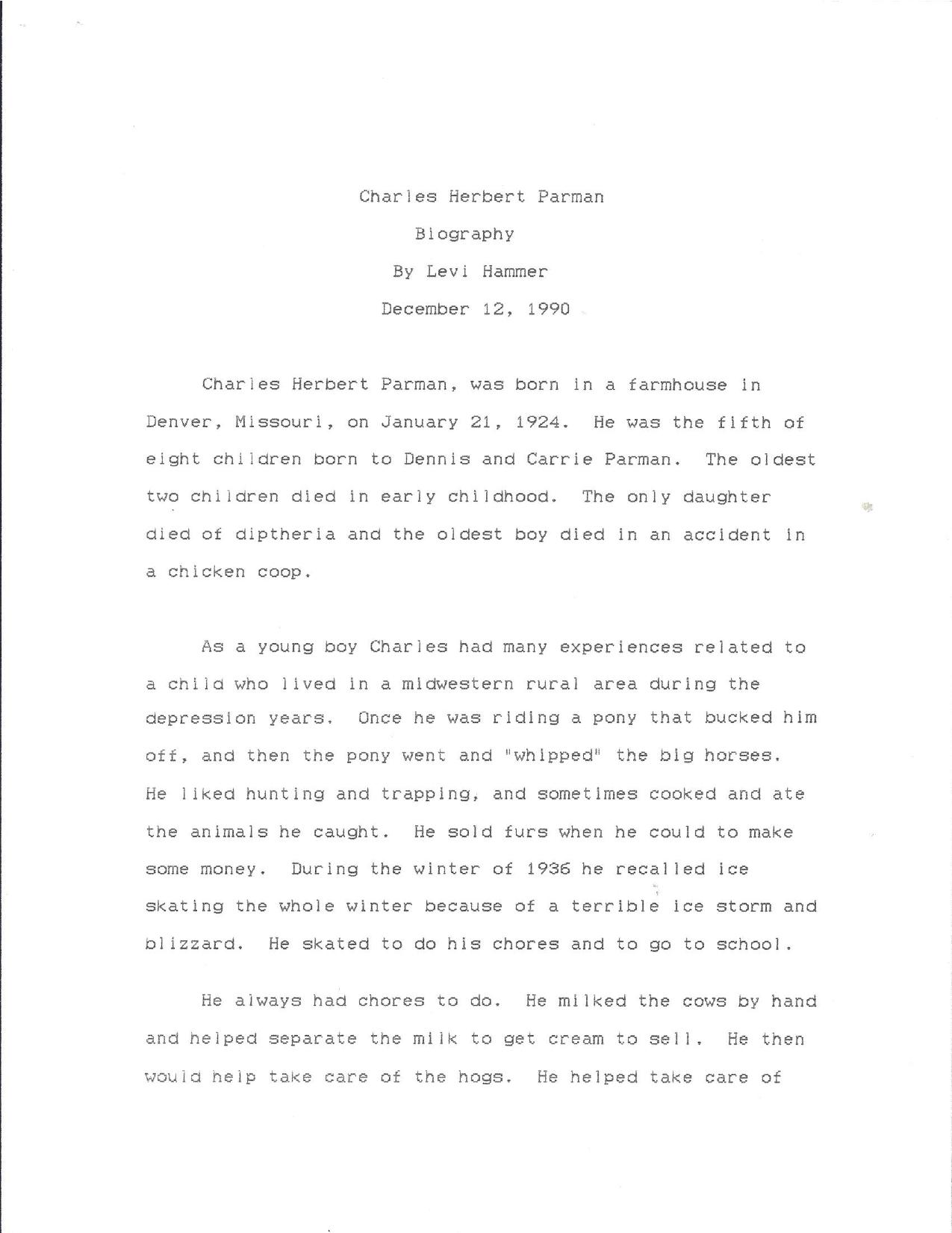 """1990 Biography of Charles """"Papa"""" Parman"""
