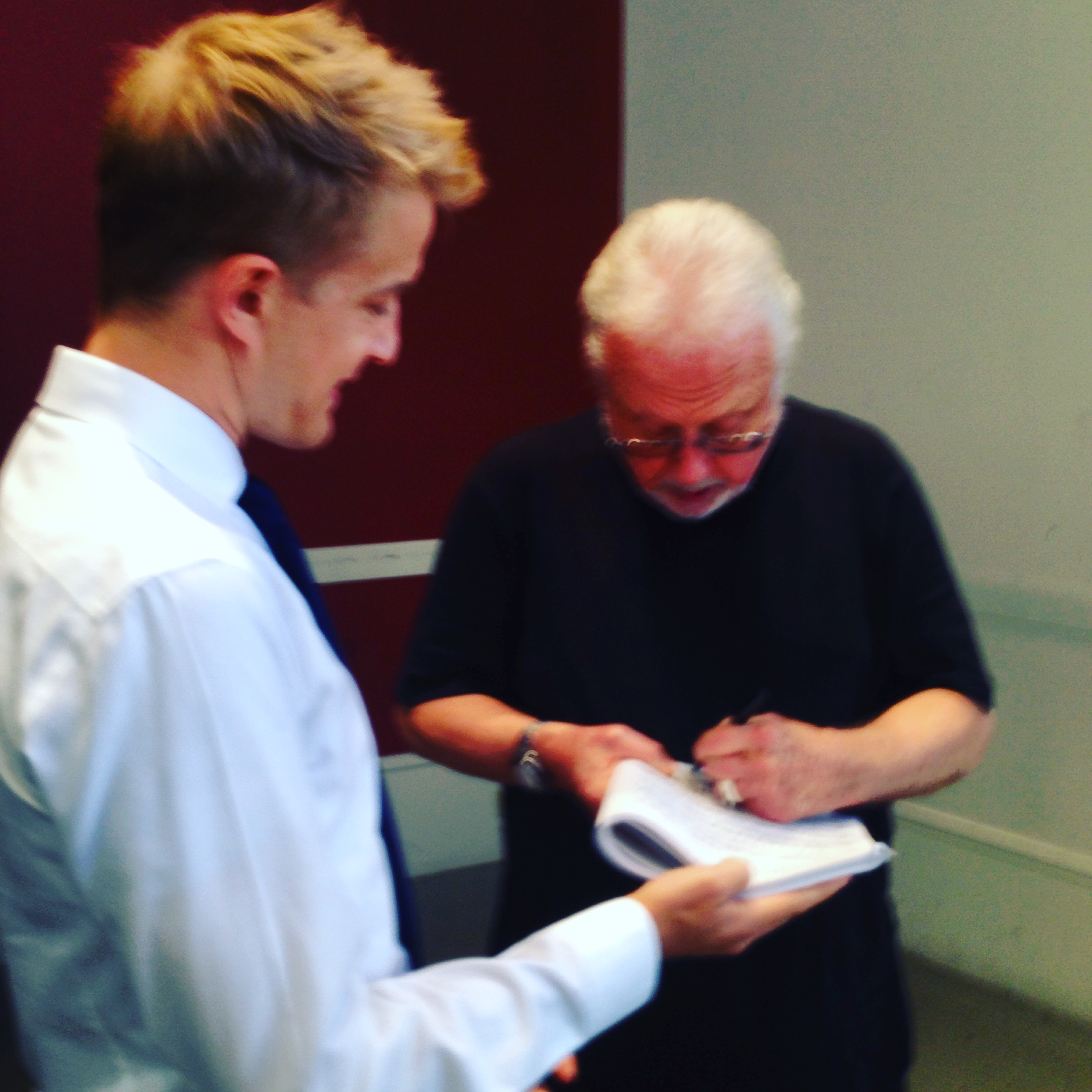 William Bolcom signing my score of his complete rags after I played his  Graceful Ghost Rag for him. We had an interesting chat about if and how much to swing his rags, and classic ragtime in general. He compared it to  notes inégales in Couperin.