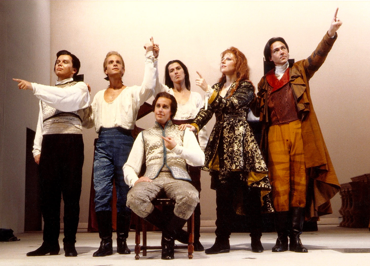 Performance of the final scene of Handel's  Partenope , Opera Omaha. From left to right: Steven Tharp, Drew Minter, Jennifer Lane, Dawn Kotoski and William Sharp. Seated: Steven Rickards.