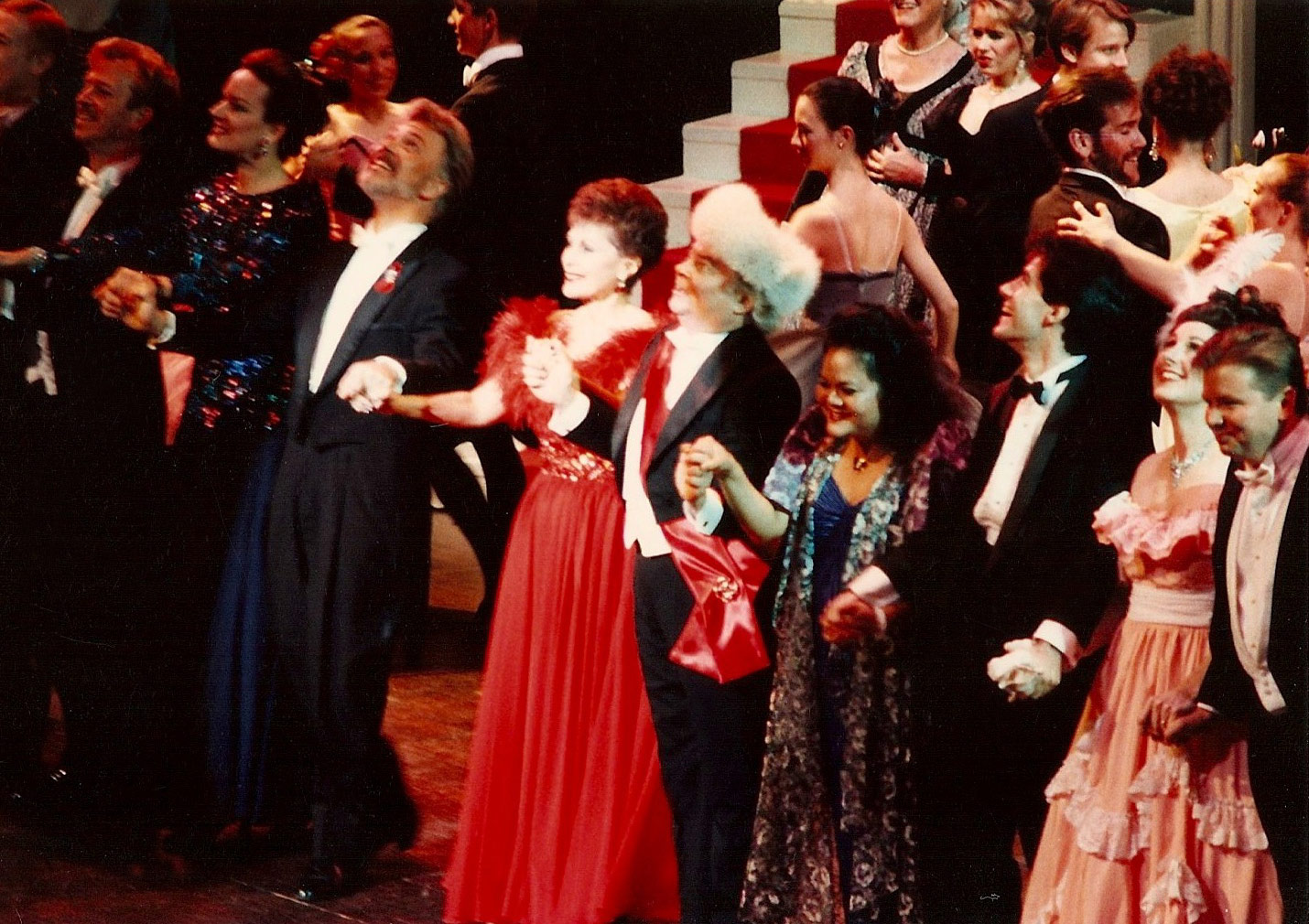 Far right at  Die Fledermaus  Act II Gala curtain call, with fellow partygoers including Jane Ohmes, Gary Aldrich, Roberta Peters, James Billings, Lani Misenas, Robert Sopolsky and Jane Munson-Berg. Springfield Regional Opera, Missouri.