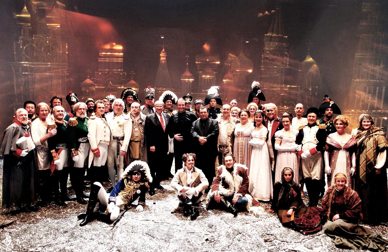 L arge cast of Prokofiev's War and Peace at the Metropolitan Opera. Steven Tharp behind Valery Gergiev. (© Steven J. Sherman)