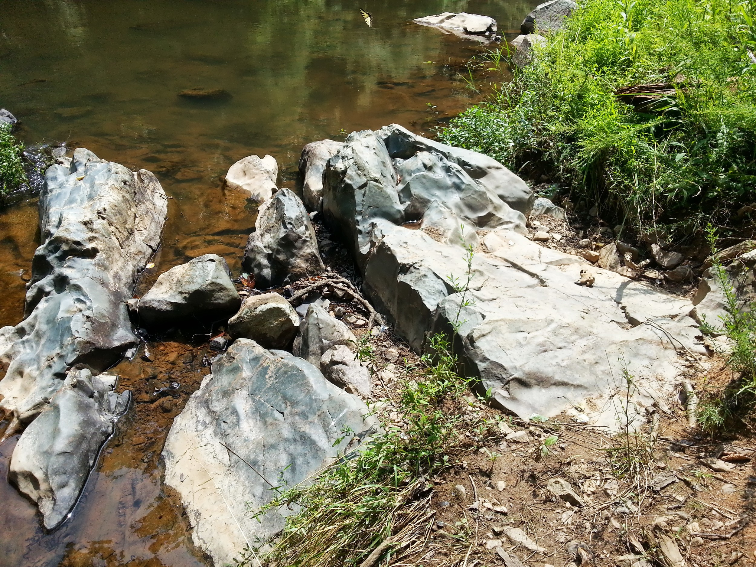 The river and human feet have been slowly weathering these river rocks.