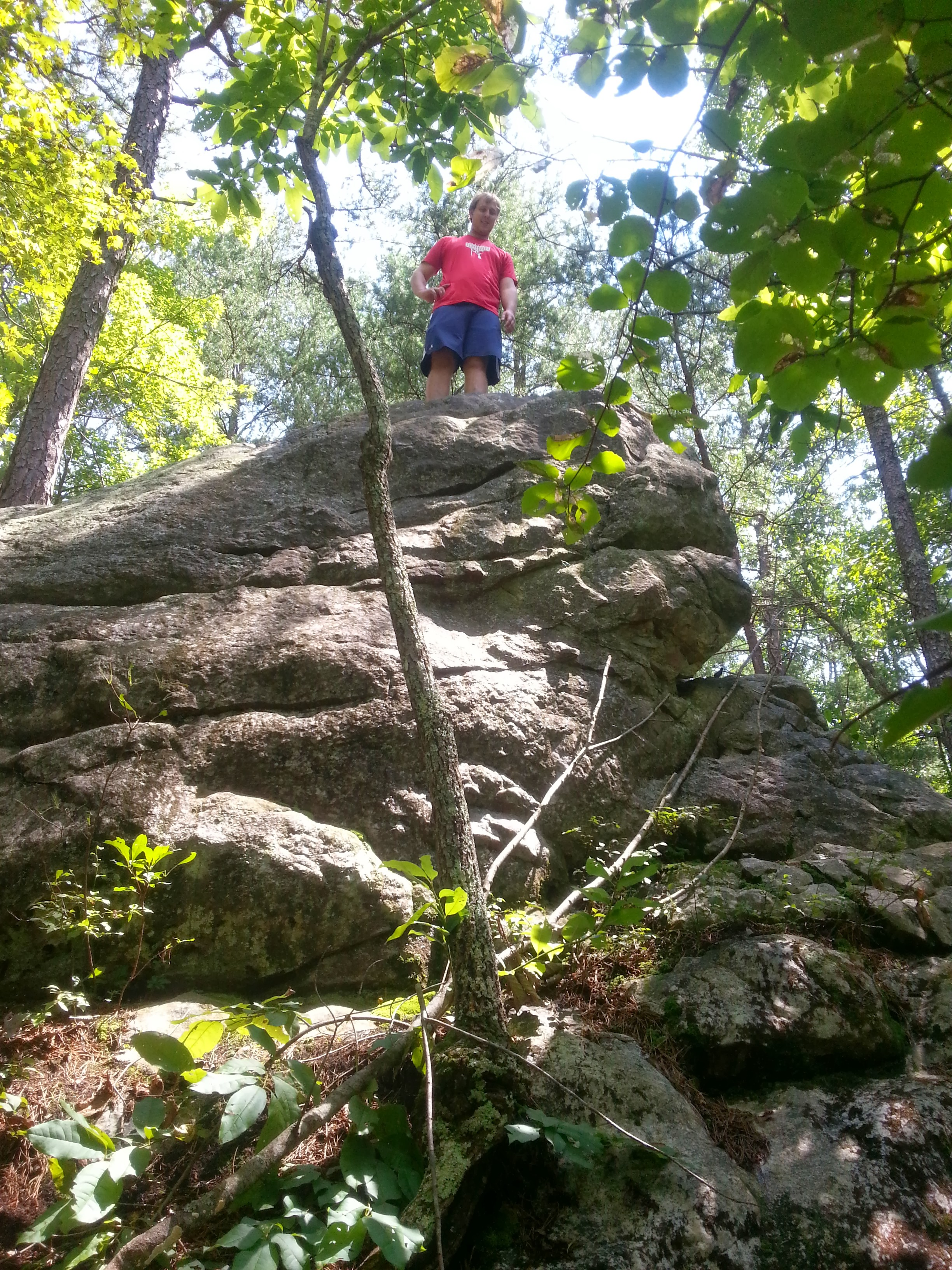 McCrae explored some rock formations next to the trail.