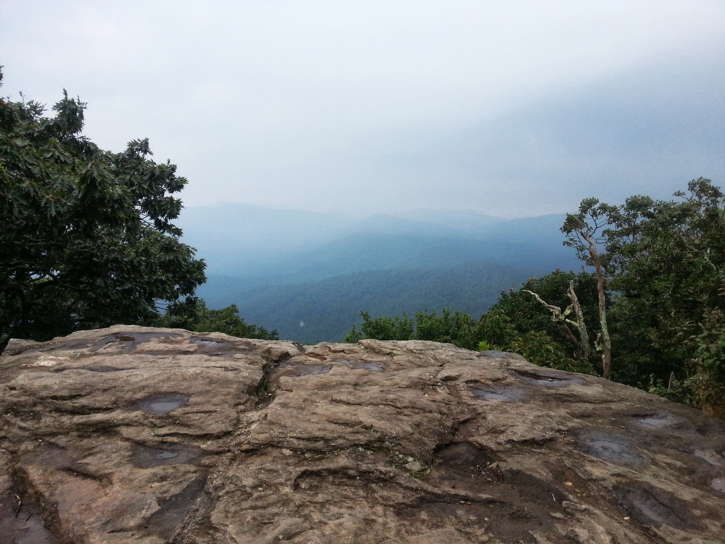 The view from the outcropping, trying to catch a break in the fog.