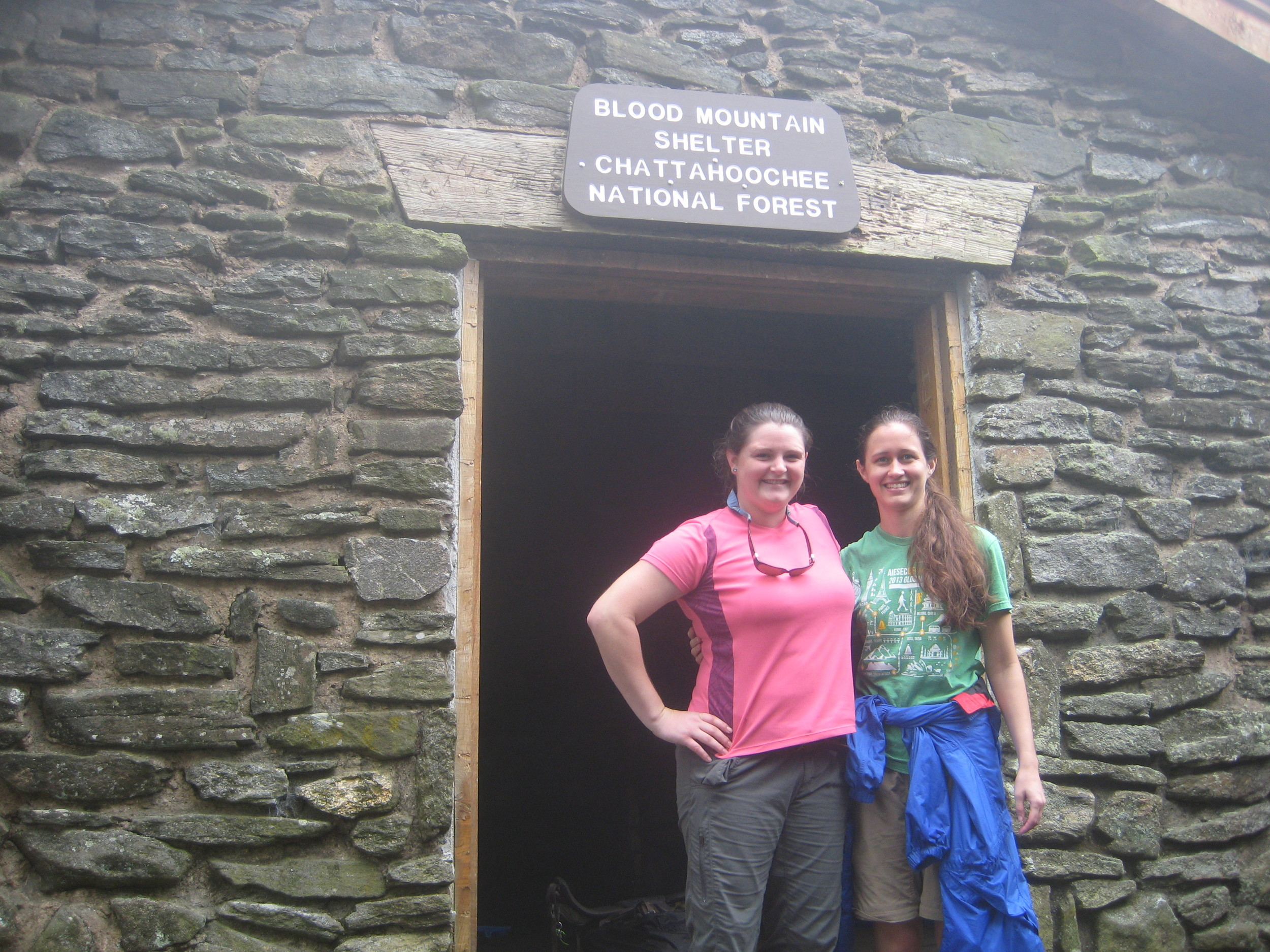 Becky and me in front of the Blood Mountain shelter.