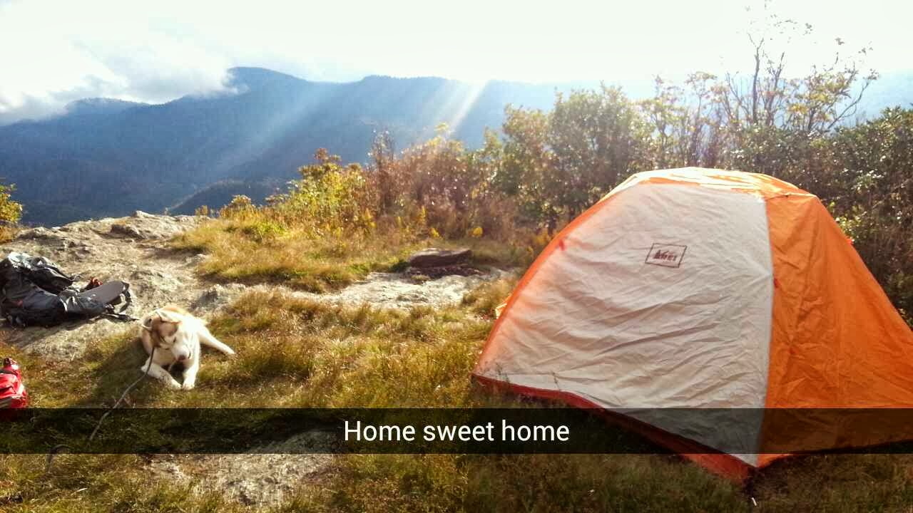 Snapchat of the campsite.